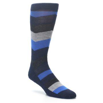 Image of Navy Charcoal Chevron Wool Men's Casual Socks (side-1-26)