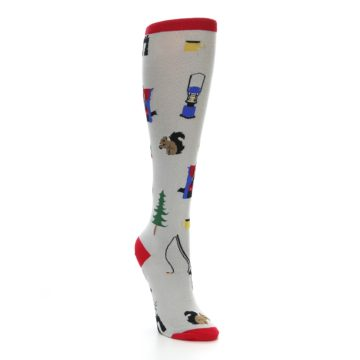 Image of Light Gray Camping Women's Knee High Socks (side-1-front-02)