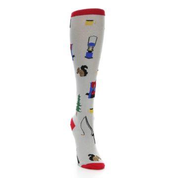 Image of Light Gray Camping Women's Knee High Socks (side-1-front-03)