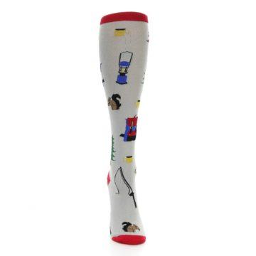 Image of Light Gray Camping Women's Knee High Socks (front-04)