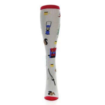 Image of Light Gray Camping Women's Knee High Socks (front-05)