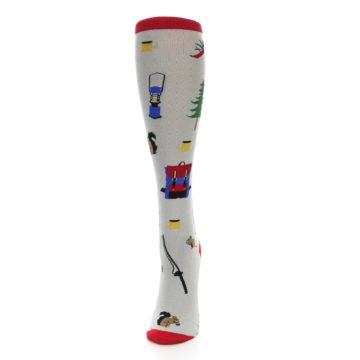 Image of Light Gray Camping Women's Knee High Socks (side-2-front-06)