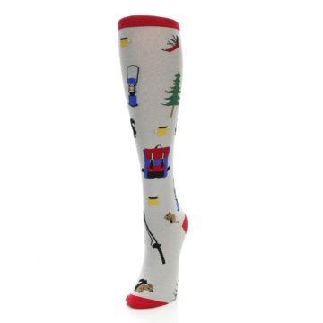 Image of Light Gray Camping Women's Knee High Socks (side-2-front-07)