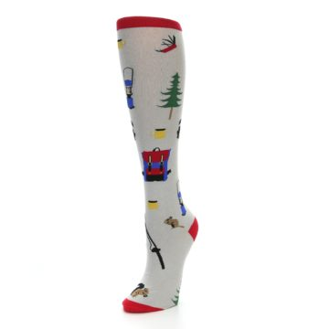 Image of Light Gray Camping Women's Knee High Socks (side-2-front-08)