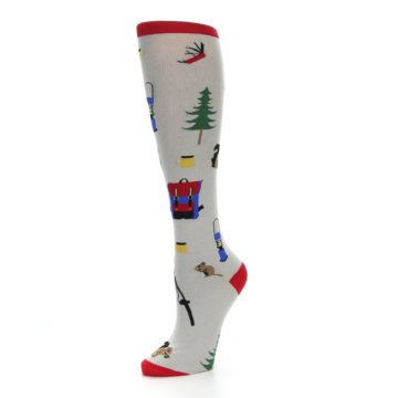 Image of Light Gray Camping Women's Knee High Socks (side-2-09)