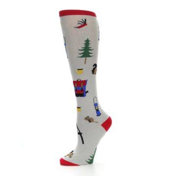 Image of Light Gray Camping Women's Knee High Socks (side-2-10)