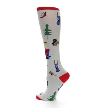 Image of Light Gray Camping Women's Knee High Socks (side-2-13)