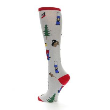 Image of Light Gray Camping Women's Knee High Socks (side-2-back-14)