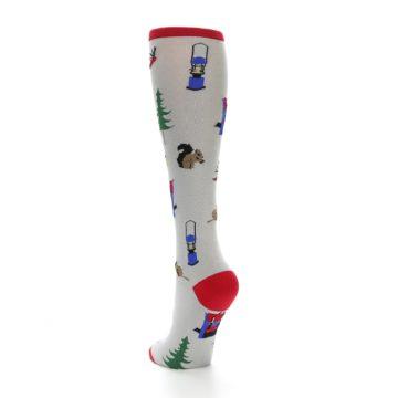 Image of Light Gray Camping Women's Knee High Socks (side-2-back-16)