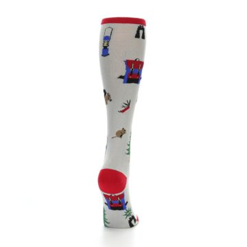 Image of Light Gray Camping Women's Knee High Socks (side-1-back-20)