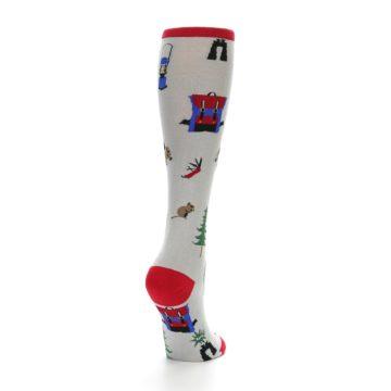 Image of Light Gray Camping Women's Knee High Socks (side-1-back-21)
