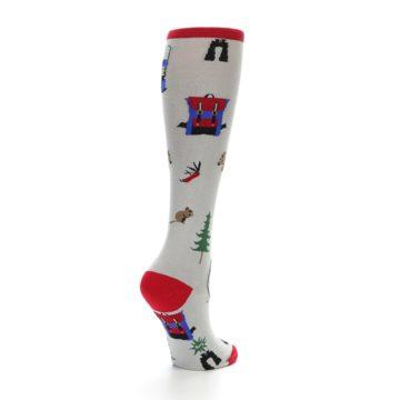 Image of Light Gray Camping Women's Knee High Socks (side-1-back-22)