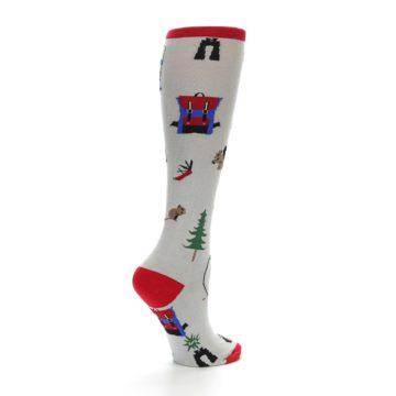 Image of Light Gray Camping Women's Knee High Socks (side-1-23)