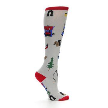 Image of Light Gray Camping Women's Knee High Socks (side-1-25)