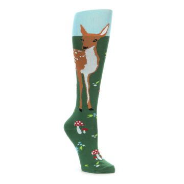 Green and brown deer fawn women's knee high socks