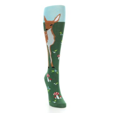 Image of Green Brown Fawn Women's Knee High Socks (side-1-front-03)