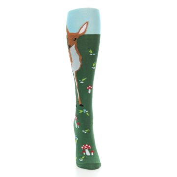 Image of Green Brown Fawn Women's Knee High Socks (front-04)