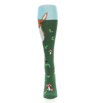 Image of Green Brown Fawn Women's Knee High Socks (front-05)
