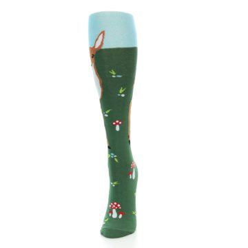 Image of Green Brown Fawn Women's Knee High Socks (side-2-front-06)