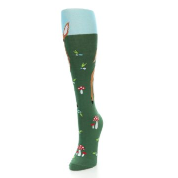 Image of Green Brown Fawn Women's Knee High Socks (side-2-front-07)
