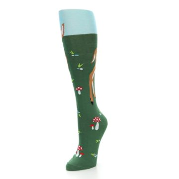 Image of Green Brown Fawn Women's Knee High Socks (side-2-front-08)