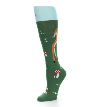 Image of Green Brown Fawn Women's Knee High Socks (side-2-09)