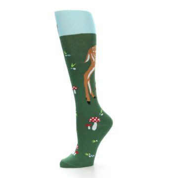 Image of Green Brown Fawn Women's Knee High Socks (side-2-10)
