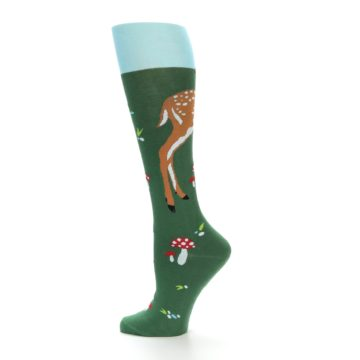 Image of Green Brown Fawn Women's Knee High Socks (side-2-12)