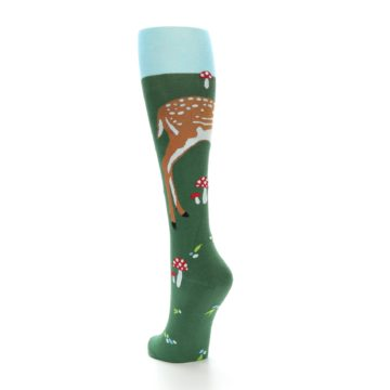 Image of Green Brown Fawn Women's Knee High Socks (side-2-back-15)