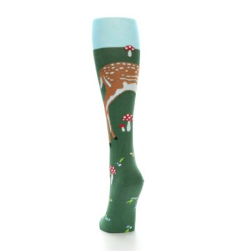 Image of Green Brown Fawn Women's Knee High Socks (side-2-back-16)