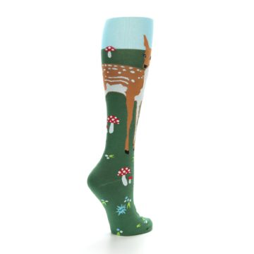 Image of Green Brown Fawn Women's Knee High Socks (side-1-back-21)