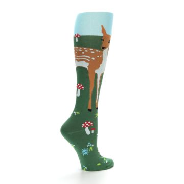 Image of Green Brown Fawn Women's Knee High Socks (side-1-back-22)