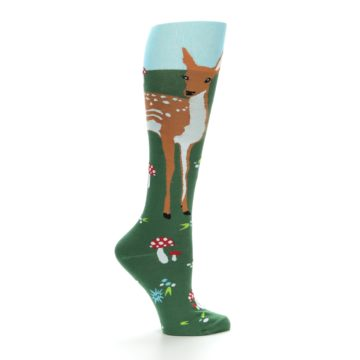 Image of Green Brown Fawn Women's Knee High Socks (side-1-24)