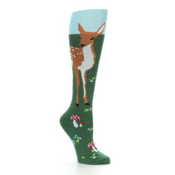 Image of Green Brown Fawn Women's Knee High Socks (side-1-26)