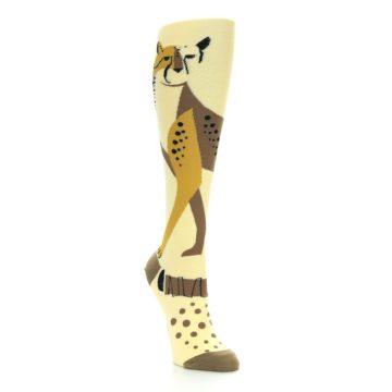 Image of Brown Tan Cheetah Women's Knee High Socks (side-1-front-02)