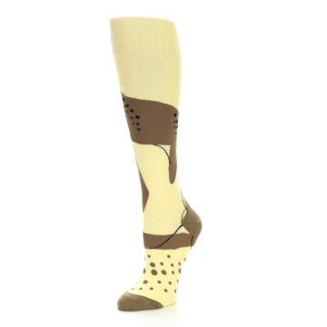 Image of Brown Tan Cheetah Women's Knee High Socks (side-2-09)