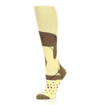 Image of Brown Tan Cheetah Women's Knee High Socks (side-2-10)