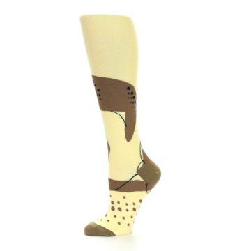 Image of Brown Tan Cheetah Women's Knee High Socks (side-2-11)