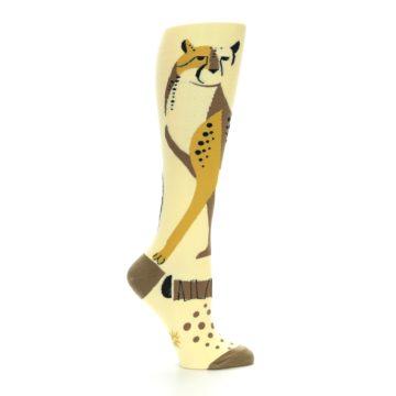 Image of Brown Tan Cheetah Women's Knee High Socks (side-1-25)