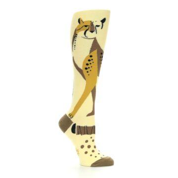 Image of Brown Tan Cheetah Women's Knee High Socks (side-1-26)
