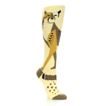 Image of Brown Tan Cheetah Women's Knee High Socks (side-1-27)