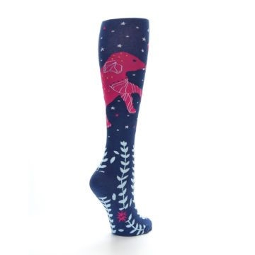 Image of Blue Pink Elephants Women's Knee High Socks (side-1-back-22)