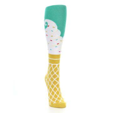Image of Tan White Green Ice Cream Women's Knee High Socks (side-1-front-03)