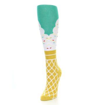 Image of Tan White Green Ice Cream Women's Knee High Socks (side-2-front-07)