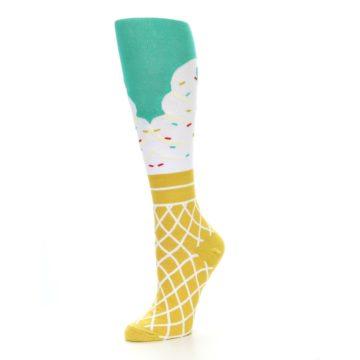 Image of Tan White Green Ice Cream Women's Knee High Socks (side-2-09)