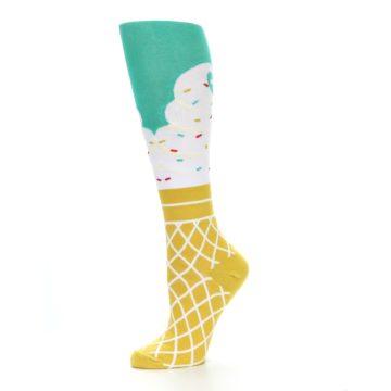 Image of Tan White Green Ice Cream Women's Knee High Socks (side-2-10)
