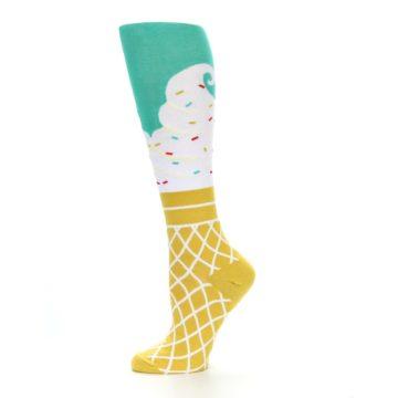 Image of Tan White Green Ice Cream Women's Knee High Socks (side-2-11)