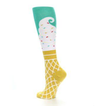 Image of Tan White Green Ice Cream Women's Knee High Socks (side-2-13)