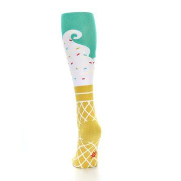 Image of Tan White Green Ice Cream Women's Knee High Socks (side-2-back-16)