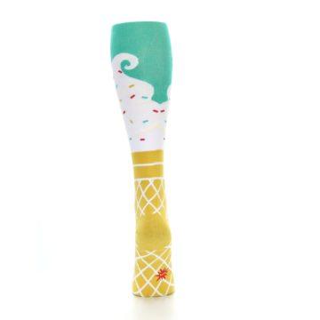 Image of Tan White Green Ice Cream Women's Knee High Socks (back-17)